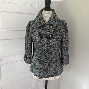 Double breasted grey gray tweed cropped peacoat